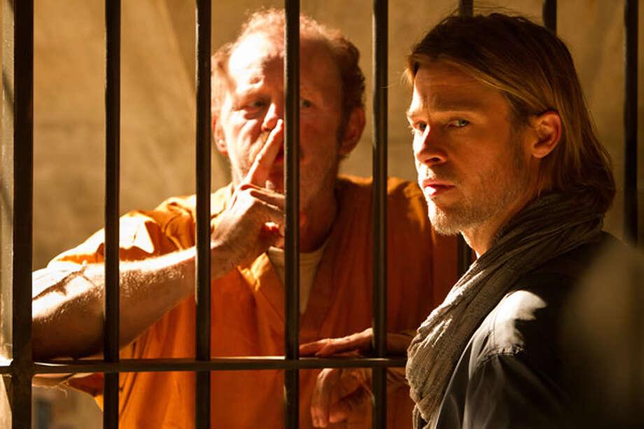 David Morse as a former CIA operative and Brad Pitt as Gerry Lane at Camp Humphreys, Korea. Photo: Paramount, 2013