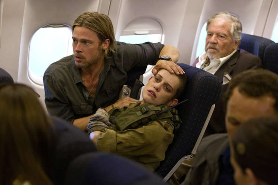 Brad Pitt as Gerry Lane and Daniella Kertesz as Segen after escaping Jerusalem. Photo: Paramount, 2013
