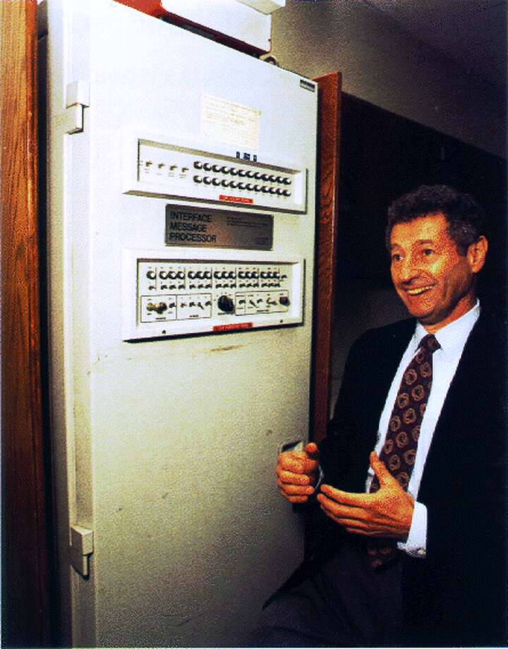 Chatting on the Internet.  Photo: Len Kleinrock and the first Interface Message Processor.