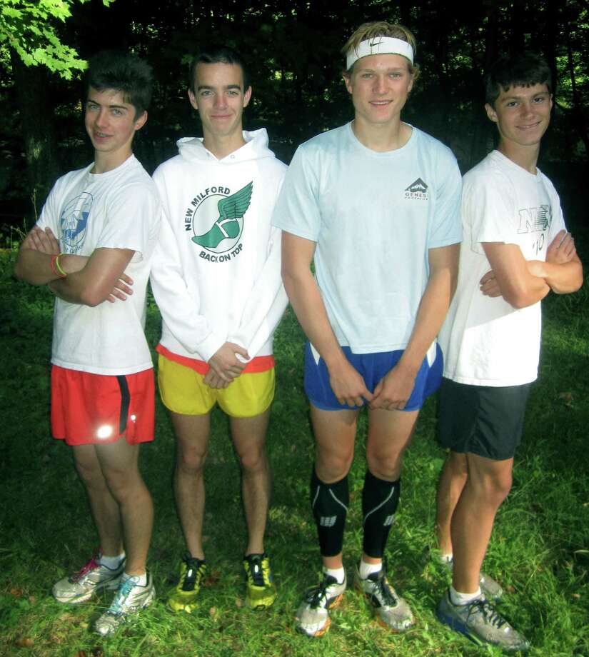 Plenty of competitive experience and senior leadership should prove a perfect formula for New Milford High School boys' cross country captains, from left to right, Jay Humphreys, Adam Dengler, Zach Guptill and High Sichel. September 2013 Photo: Norm Cummings