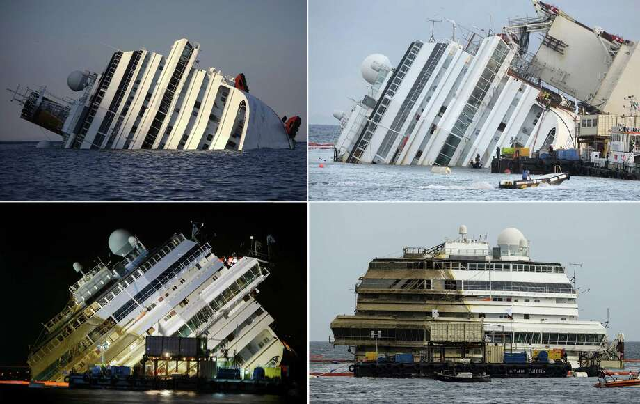 "TOPSHOTS This combination made on September 17, 2013 shows four photos of the Costa Concordia, after the cruise ship ran aground and keeled over off the Isola del Giglio taken on January 14, 2012 (TopL), beginning to emerge during the salvage operation on September 16, 2013 (TopR) and (BottomL) and after he was turned upright (BottomR) on September 17, 2013. ""The parbuckling operation has been completed. We have reached zero degrees (vertical),"" said Franco Gabrielli, the head of the civil protection agency which has overseen the project. AFP PHOTO/FILIPPO MONTEFORTE/ANDREAS SOLARO/VINCENZO PINTOFILIPPO MONTEFORTE,ANDREAS SOLARO,VINCENZO PINTO/AFP/Getty Images ORG XMIT: 137113554 Photo: AFP, Getty / AFP"
