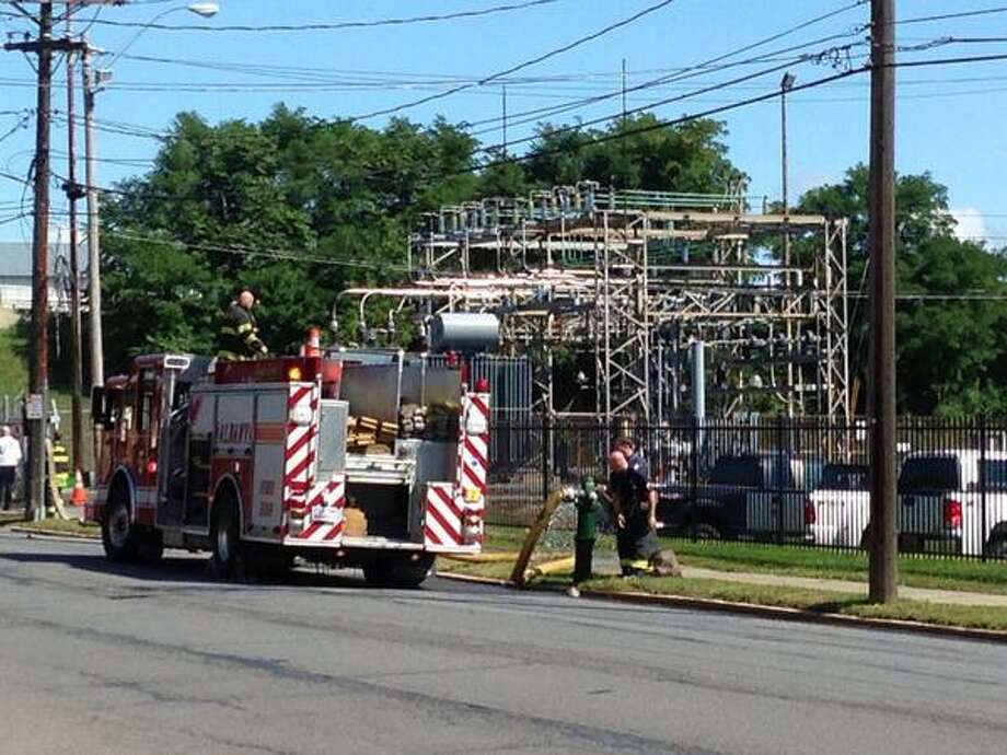 A portion of Broadway in Albany was briefly closed after a transformer fire at a National Grid complex near North First Street. (Skip Dickstein / Times Union)