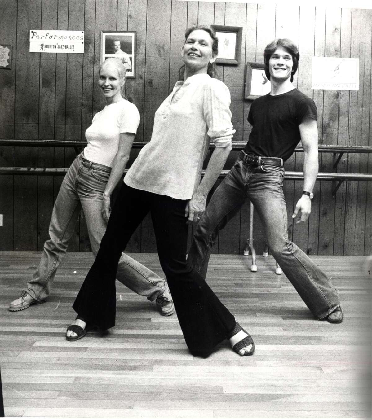 (R-L) actor Patrick Swayze, his mother Patsy Swayze and his wife Lisa Haapaniemi (aka Niemi) dance at Patsy Swayze's dance studio in Houston in 1978. (Tom Colburn / Houston Chronicle)
