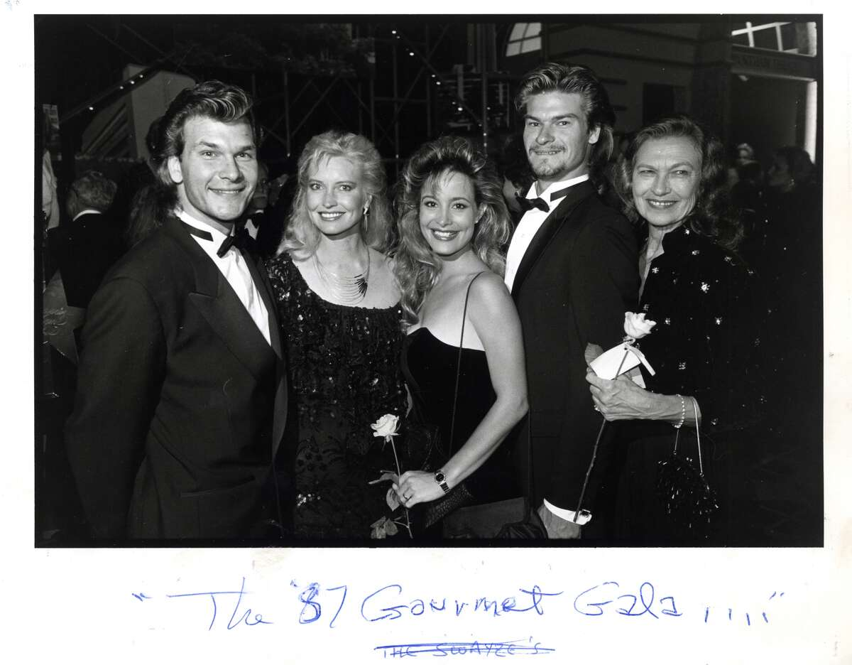 Former Houstonians, the Swayzes - Patrick Swayze and his wife, Lisa Niemi; Marcia and her husband, Don Swayze; Patsy Swayze - attend the 1987 Gourmet Gala. (Steve Ueckert / Houston Chronicle)