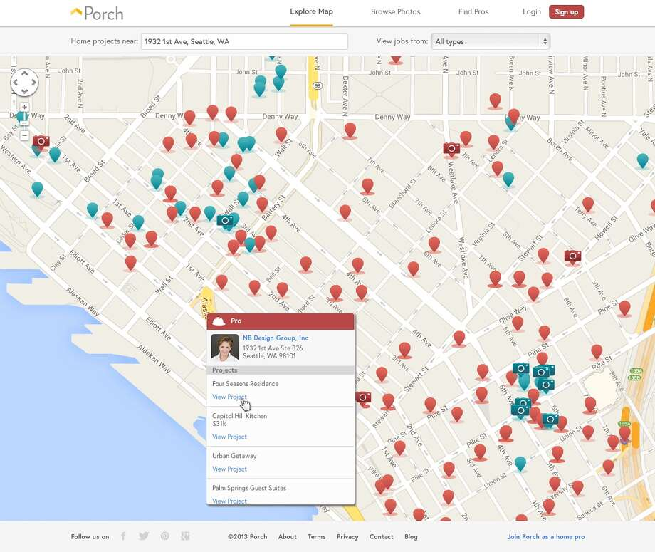 A screenshot from Porch shows a map of home-improvement projects. The Seattle startup launched on Tuesday, Sept. 17, 2013. Photo: Porch