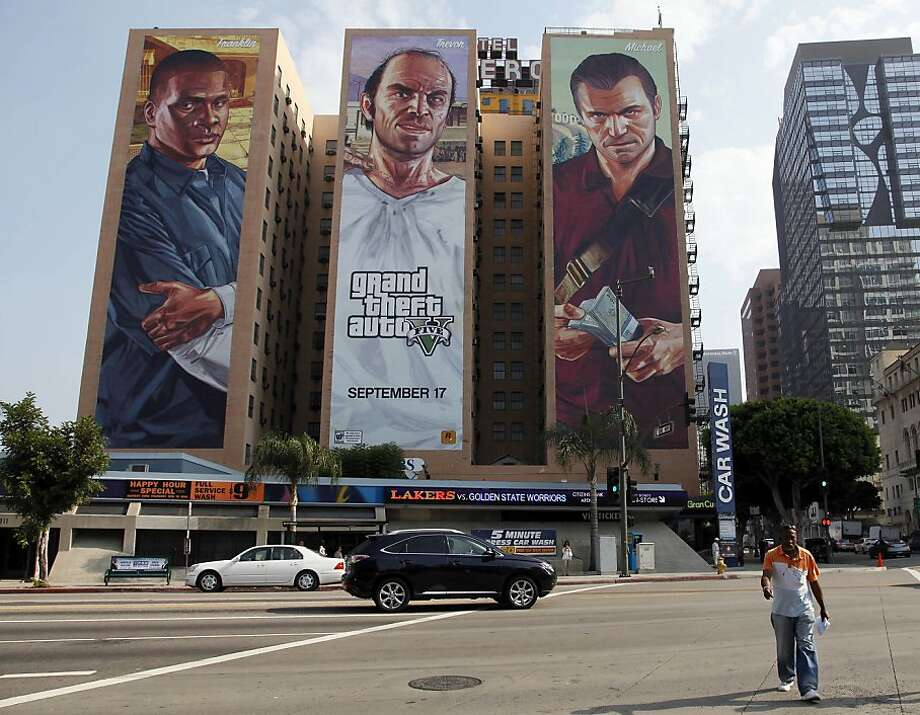 "This Tuesday, Sept. 10, 2013 photo shows the ""Grand Theft Auto V "" billboard at Figueroa Hotel in Los Angeles. ( AP Photo/Nick Ut) Photo: Nick Ut, Associated Press"