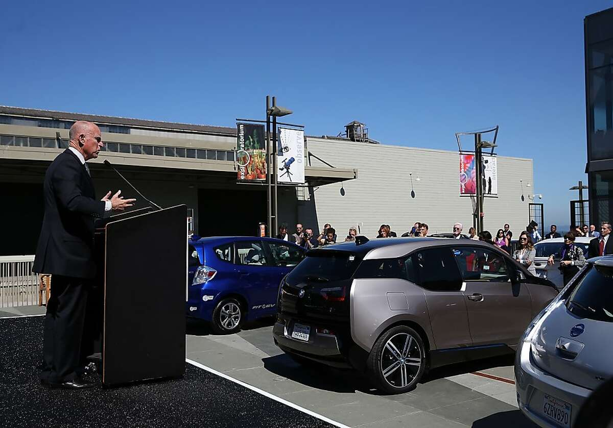 In this file photo, California Gov. Jerry Brown speaks during the Drive The Dream event at the Exploratorium on September 16, 2013 in San Francisco, California.