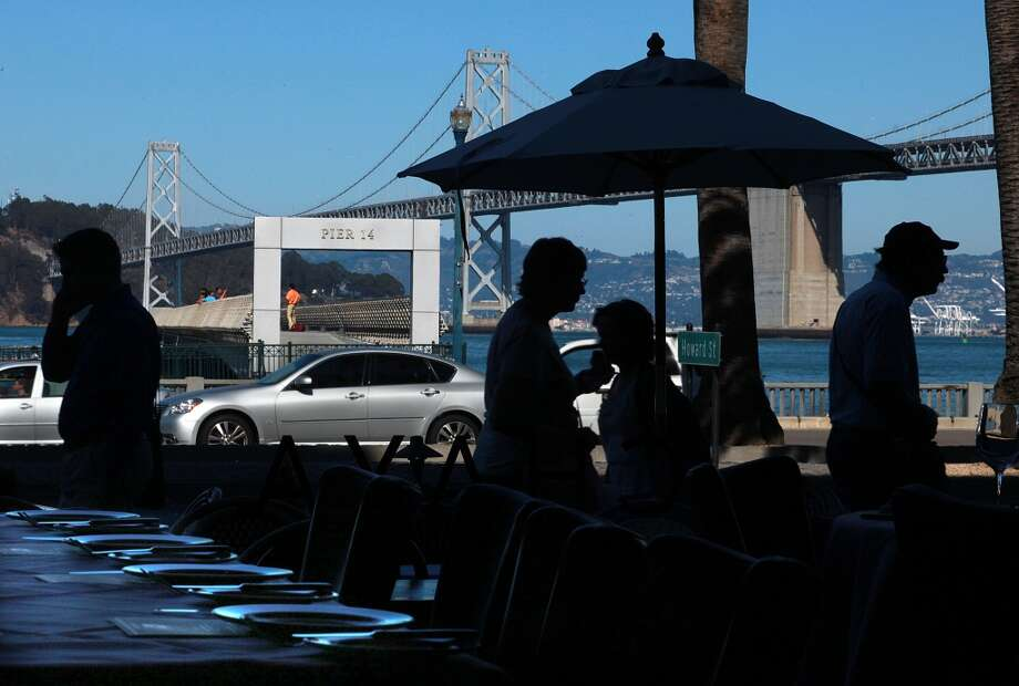 Pier 14 seen from Chaya Brasserie on the west side of the Embarcadero. Photo: Liz Hafalia, The Chronicle
