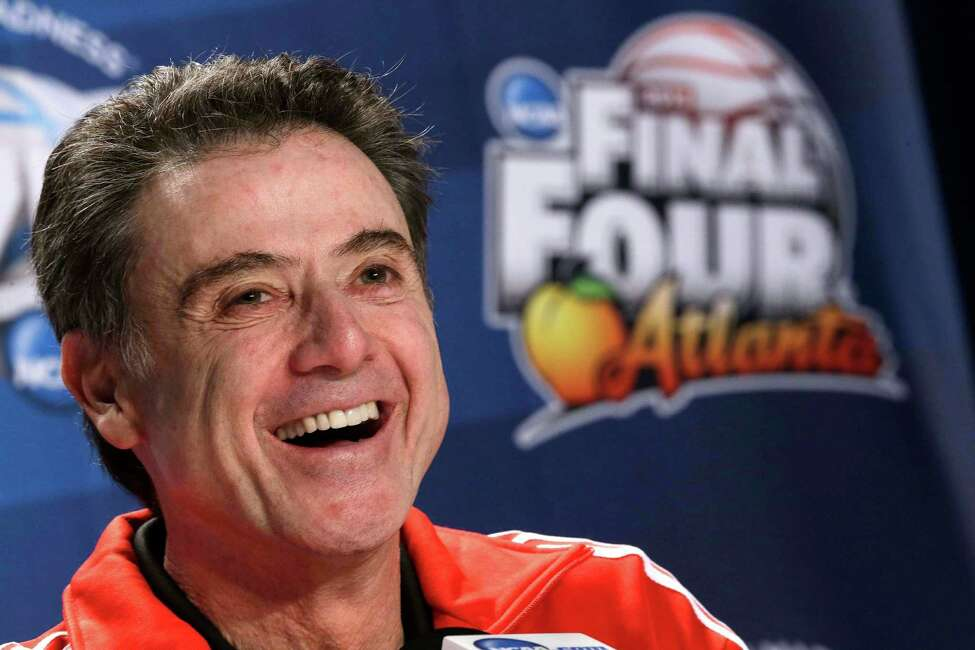 File-This April 4, 2013 file photo shows Louisville head coach Rick Pitino speaking to the media during a news conference at the Final Four of the NCAA college basketball tournament, in Atlanta. Pitino is once again studying video of Michael Jordan and John Stockton to learn from them. As in, knowing what to say and not say when the Louisville coach is inducted into the Naismith Memorial Hall of Fame on Sunday Sept. 8, 2013. (AP Photo/John Bazemore, File) ORG XMIT: NY166