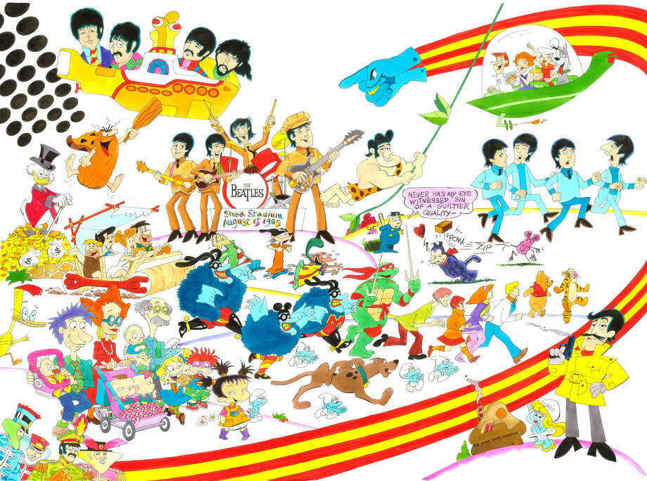 """In addition to several drawings of the Beatles, """"Childhood Memories"""" by Ron Campbell features """"The Flintstones,"""" The Jetsons"""" and """"Scooby-Doo"""" characters as well as Scrooge McDuck, Winnie the Pooh and Tigger and Smurfs, along with other animated characters. Photo: Courtesy Photo"""
