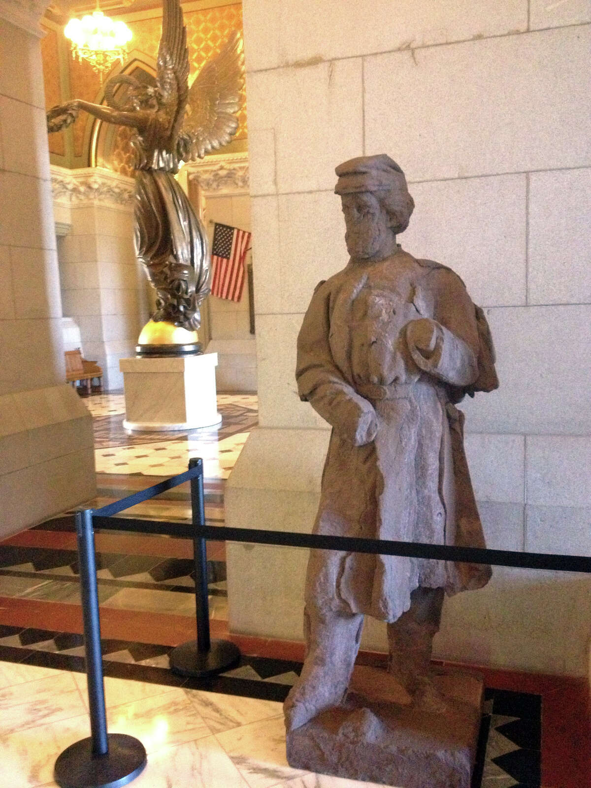 A crumbling civil war statue is being installed at the Capitol in Hartford.