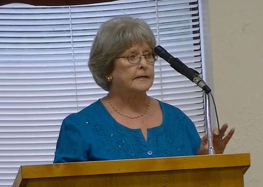 Jasper resident, Evelyn O'Neil, addresses members during city council meeting on Sept. 16, 2013.