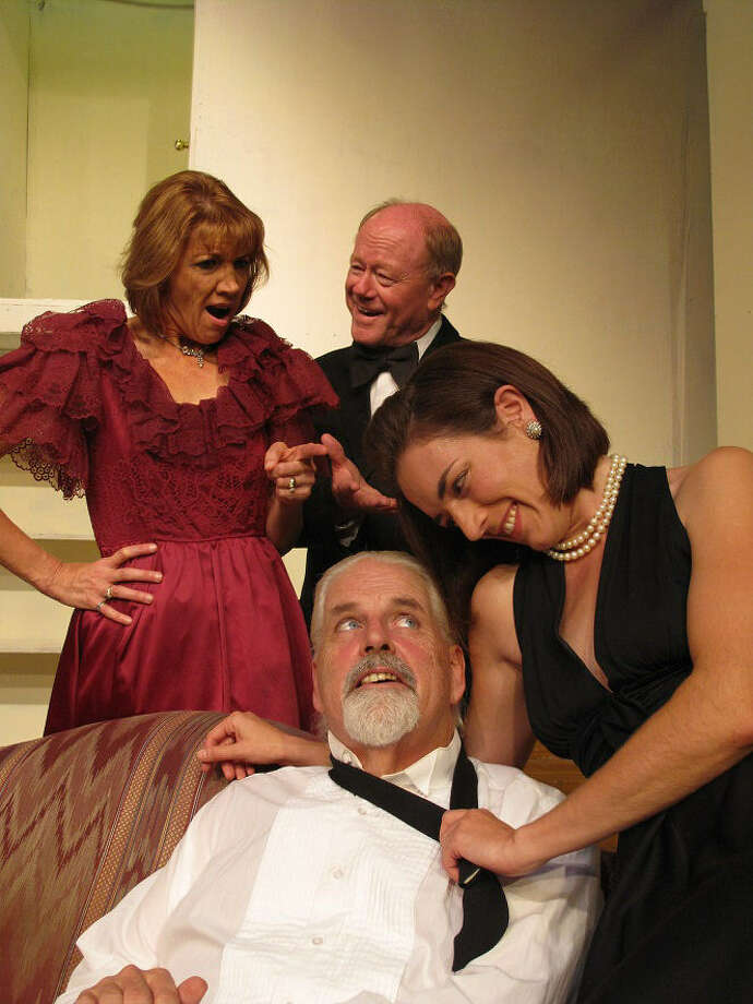 "Marcia Kelly (clockwise from left), Rusty Brockman, Jennifer Brogren and Bob Byxbee appear in the Circle Arts Theatre staging of ""Rumors."" Photo: Circle Arts Theatre"