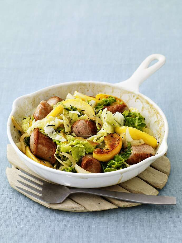Redbook recipe for Brats with Cabbage and Apples. Photo: Tina Rupp