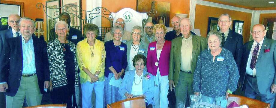 Enjoying their 65th reunion Sept. 8, 2013 at the Italia Mia are New Milford HIgh School Class of '48 members, from left to right, middle row, Dr. Archie Golden, Barbara Kamenoff Markell, Dorothy Miler Gustafson, Barbara Smith Johnson, Irene Christen Stuart, Elaine Traver Zeitler, Will McGoldrick, Joan Teater Gillum and Gordon Waldron; and, back row, Harry Taylor, Philip Peagler, Paul Newton, Robert Corey, Lowell Hendrix and Ret. Gen. Joseph Went. Seated in front is Rosemary Matriciano Jajer, a teacher at that time at NMHS. In attendance but not shown is Class of '48 member Janet Arnold.   Courtesy of Elaine Traver Zeitler Photo: Contributed Photo