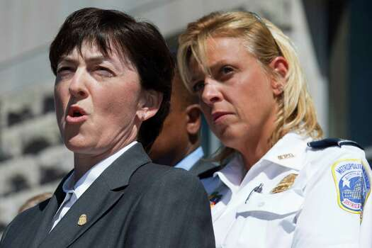 Valerie Parlave, assistant director in charge of the FBI's Washington Field Office, left, next to Washington Metropolitan Police Chief, speaks at a news conference about the shootings at the Washington Navy Yard, at the FBI Washington Field Office, in Washington, on Tuesday, Sept. 17, 2013, the day after the shootings at the Navy Yard. Photo: Jacquelyn Martin