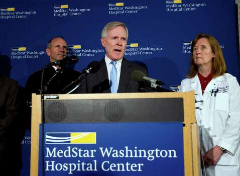 Secretary of the Navy Ray Mabus  speaks during a news conference at Washington Hospital Center, in Washington, Monday, Sept. 16, 2013, after he visited those injured at the shooting at Navy Yard building. With him at right is chief operating officer Dr. Janis M. Orlowski and Adm. Jonathan Greenert.  Photo: Jose Luis Magana / FR159526 AP