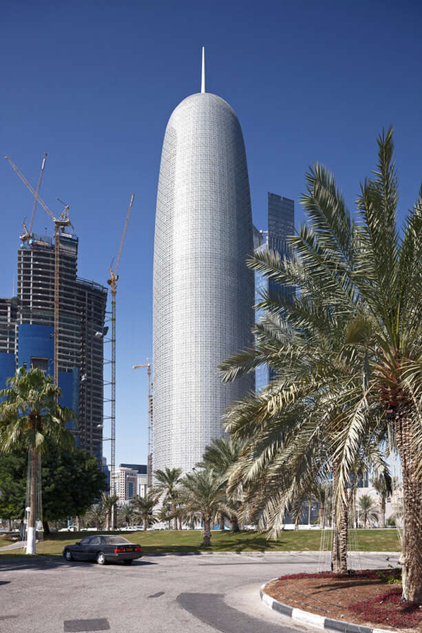 Third place went to Burj Qatar, in Doha, Qatar, Designed by Ateliers Jean Nouvel. Photo: CSCEC