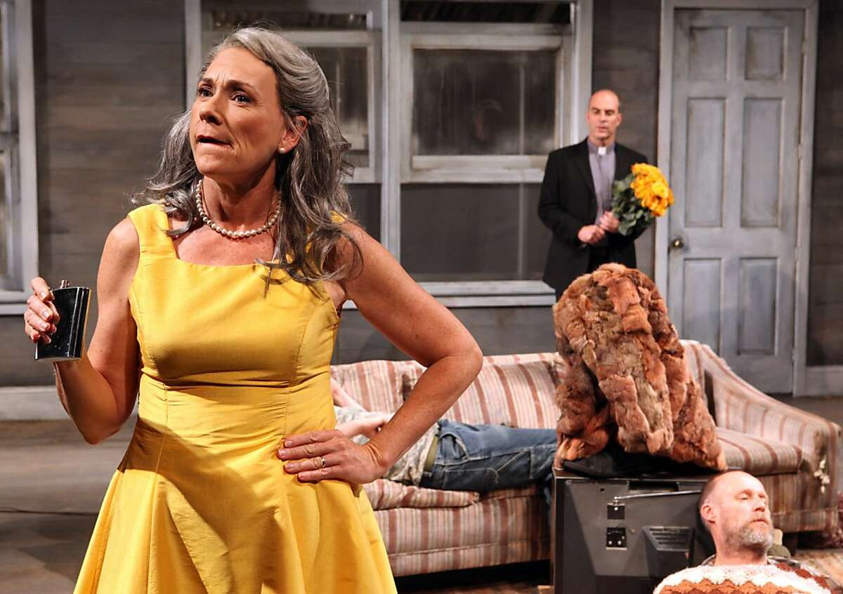 """Halie (Denise Balthrop Cassidy, left), her son Bradley (Patrick Kelly Jones, on couch), Father Dewis (Lawrence Radecker) and her husband, Dodge (Rod Gnapp) in Sam Shepard's """"Buried Child"""" at Magic Theatre"""