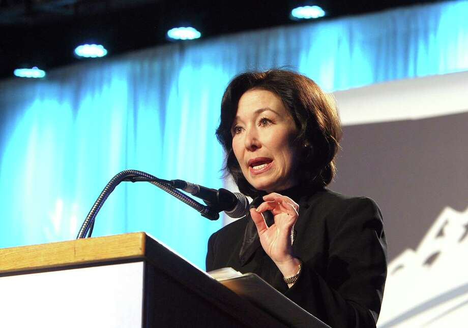Oracle's Safra Catz talks about her company's Montana operations at a gathering of business leaders. Photo: Walter Hinick, MBO / The Montana Standard