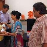 Jennifer Benito-Kowalski (left) and husband Steve take baby Kyle to say goodbye to Dr. Nayna Patel and husband Hitesh at the Akanksha Infertility Clinic in Anand, India, Friday, May 31, 2013.
