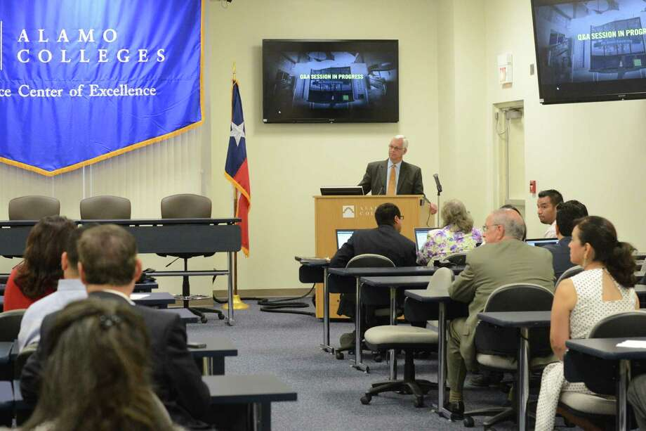 Alamo Colleges Chancellor Bruce Leslie talks about the new Virtual Career Center, a collaborative effort by Workforce Solutions Alamo and Alamo Colleges aimed at making job searches easier for people, at the program launch at St. Philip's College Southwest Campus. Photo: Photos By Billy Calzada / San Antonio Express-News