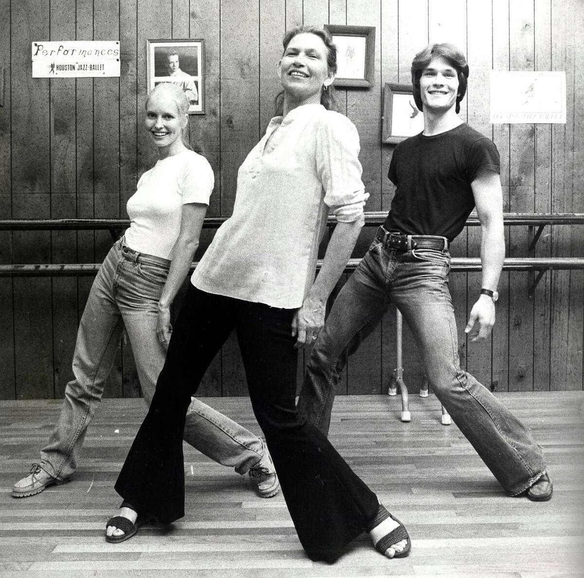 (R-L) Actor Patrick Swayze, his mother Patsy Swayze and his wife Lisa Haapaniemi (aka Niemi) dance at Patsy Swayze's dance studio in Houston in 1978.