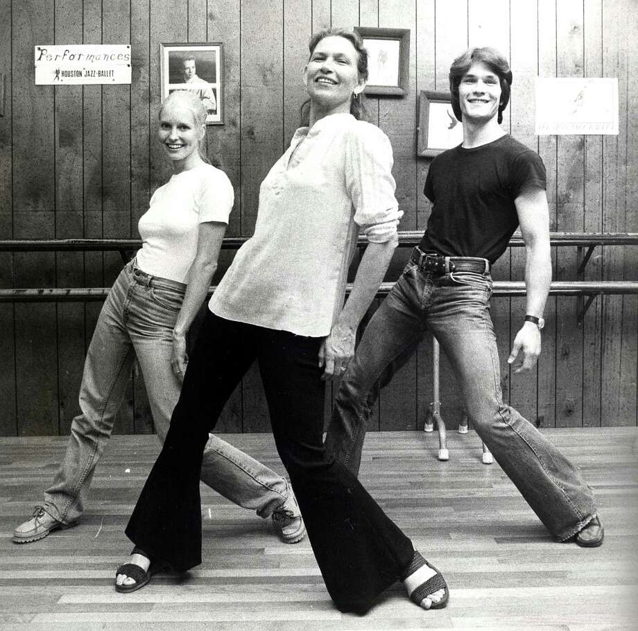 (R-L) Actor Patrick Swayze, his mother Patsy Swayze and his wife Lisa Haapaniemi (aka Niemi) dance at Patsy Swayze's dance studio in Houston in 1978. Photo: Tom Colburn, Houston Chronicle / Houston Chronicle