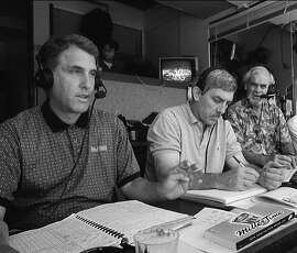 Ken Korach (left) with Ray Fosse and Bill King in the A's radio booth in 1997. (If  you don't crop him out, the guy at far right is engineer Mike Baird.)   ZAGARIS_KING2