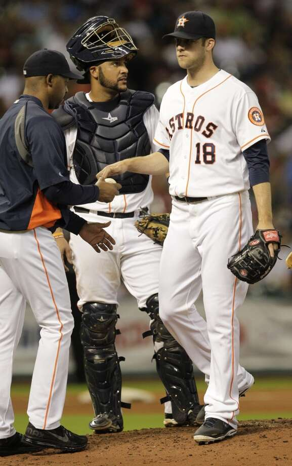 Sept. 17: Reds 10, Astros 0Astros pitcher Jordan Lyles is removed from the game against the Reds. Photo: Melissa Phillip, Houston Chronicle