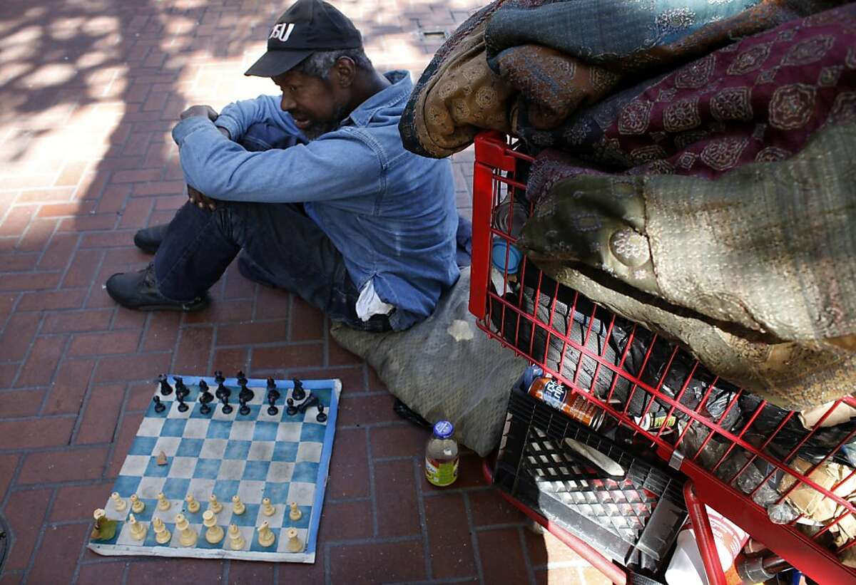 Marvin Boykins, 57, sits between 5th and 6th and Market Street with his chess board, Monday September 16, 2013, in San Francisco, Calif. Marvin known also as Grand Master learned to play chess when he was 7 years old.