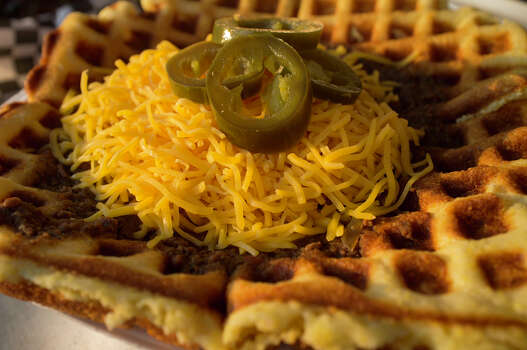 Chili on a Cornbread Waffle is one of the popular dishes from Hippie Momma's.  Photo: J. MICHAEL SHORT, FOR THE EXPRESS-NEWS / THE SAN ANTONIO EXPRESS-NEWS