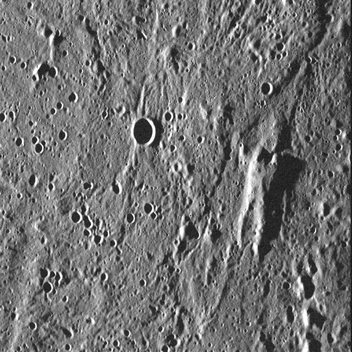 A NASA photo of the surface of Mercury shows the likeness of Han Solo's frozen silhouette.