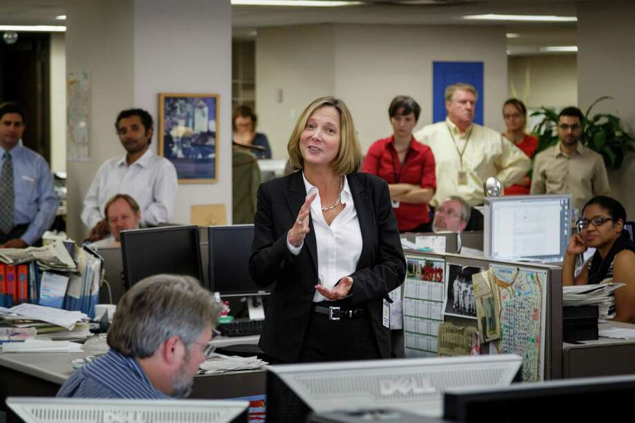 Nancy Barnes fields questions from the Houston Chronicle Editorial Staff, Wednesday, Sept. 18, 2013, in Houston.  Barnes was named Wednesday as Editor and Executive Vice President of the Houston Chronicle after working the past six years as the Minneapolis Star Tribune Editor and Senior Vice President. Photo: Michael Paulsen, Houston Chronicle / © 2013 Houston Chronicle