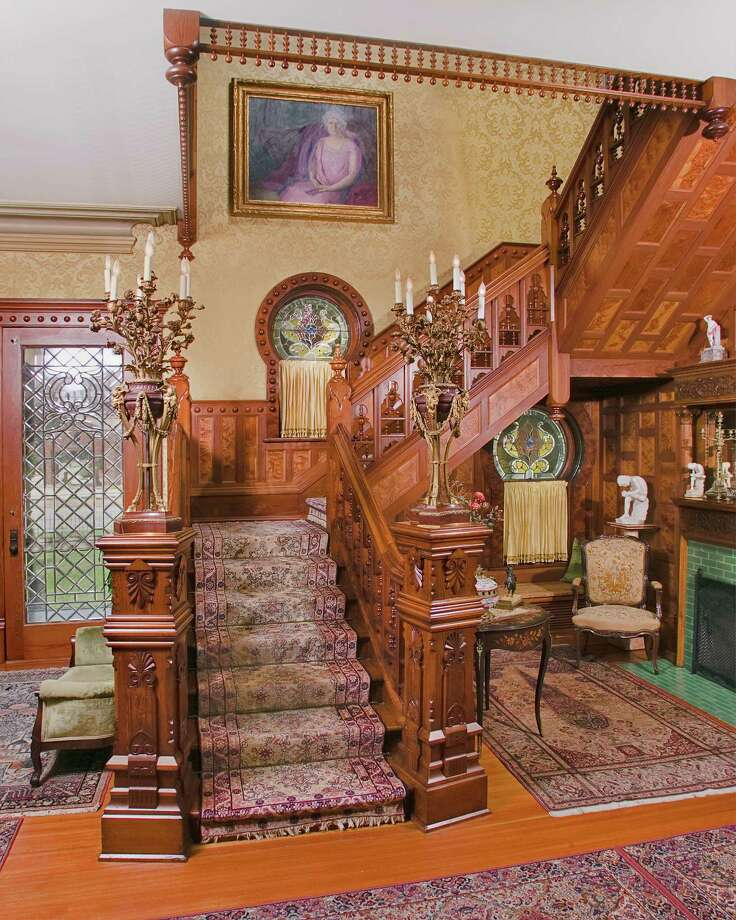 Grand staircase in foyer of Stark House, Orange Texas.  Photo: Will France 409-755-4348 / DirectToArchive