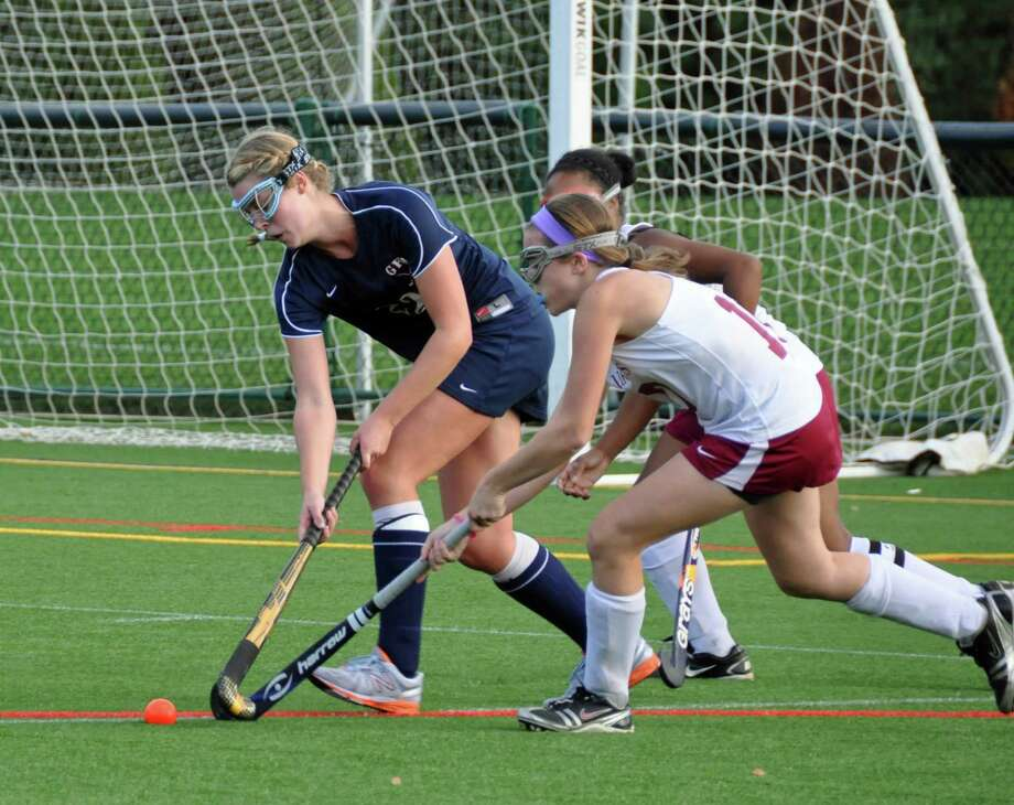 Senior midfielder Maggie Sherin, left, controls the ball in Greens Farms Academy's 6-1 victory over St. Luke's on Sept. 10. Photo: Contributed Photo / Norwalk Citizen