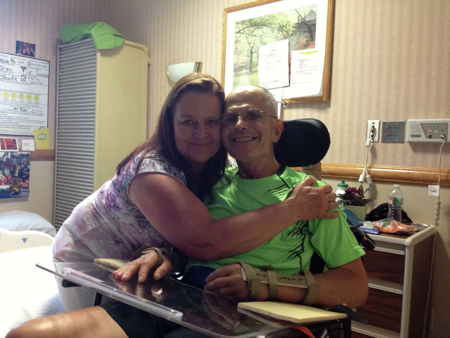 Caroline Yackery and her husband Vince. Vince suffered a spinal cord injury that left him a quadriplegic in April 2013. Photo: Contributed