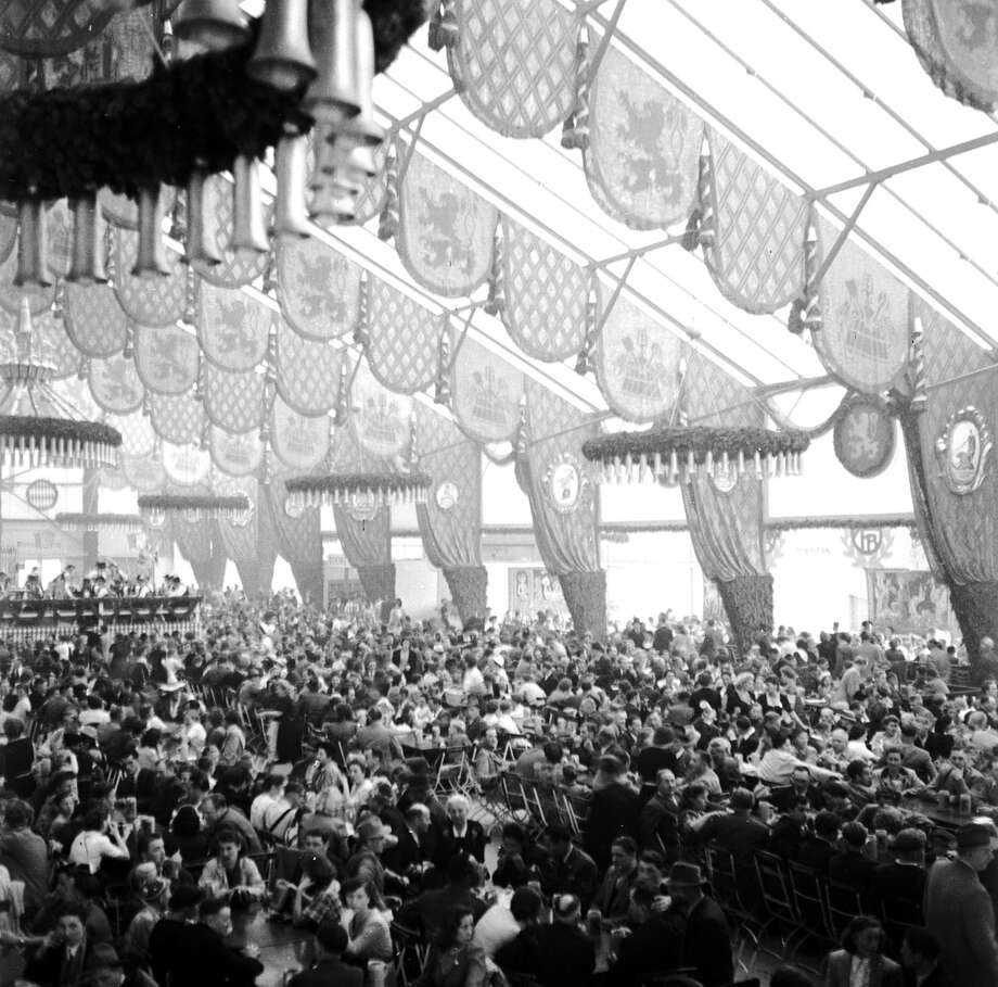Inside the gigantic beer pavilion at the Munich Oktoberfest, where people gather round large tables and gorge themselves with roast ox, sauerkraut, beer and potato salad. The lions on the decorations are the insignia of the Lowenbrau brewery, founded in 1374, and also of the city itself, famous for its associations with beer. Photo: Three Lions, Getty Images / Hulton Archive