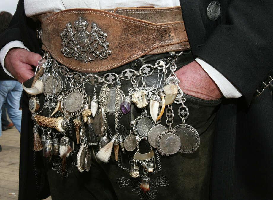 A man dressed in traditional Bavarian belt poses during Oktoberfest. Photo: Chad Buchanan, Getty Images / 2008 Chad Buchanan