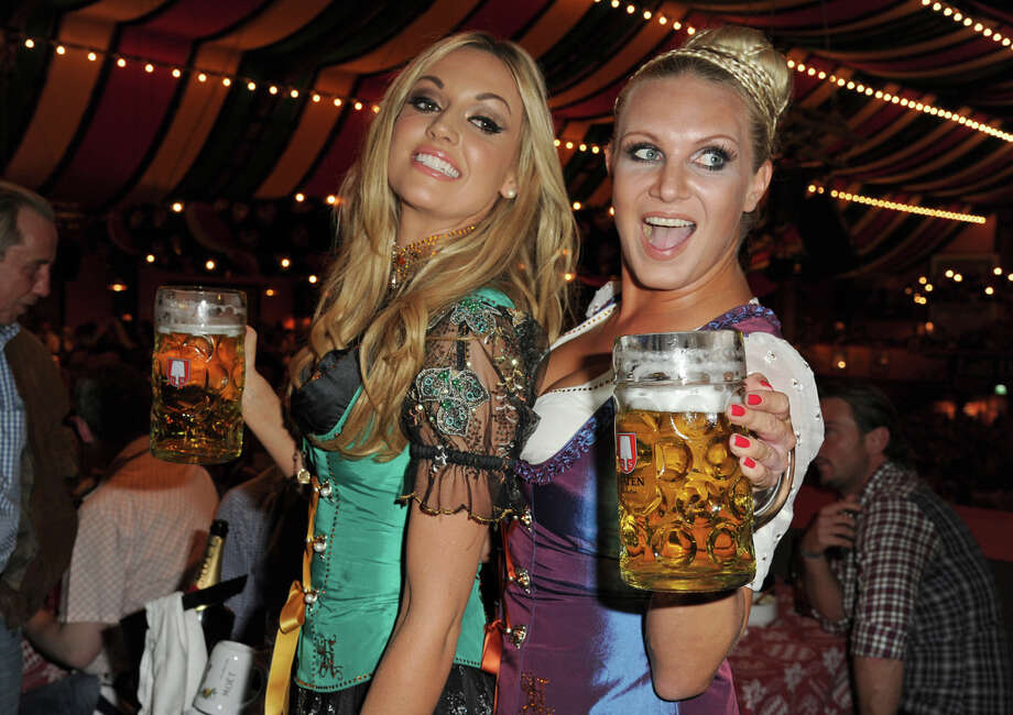 Ex-Miss World Rosanna Davison and Magdalena Brzeska attend the 'Charity Wiesn' as part of the Oktoberfest beer festival at Hippodrom beer tent on Sept. 25, 2011 in Munich, Germany. Photo: Hannes Magerstaedt, Getty Images / 2011 Hannes Magerstaedt