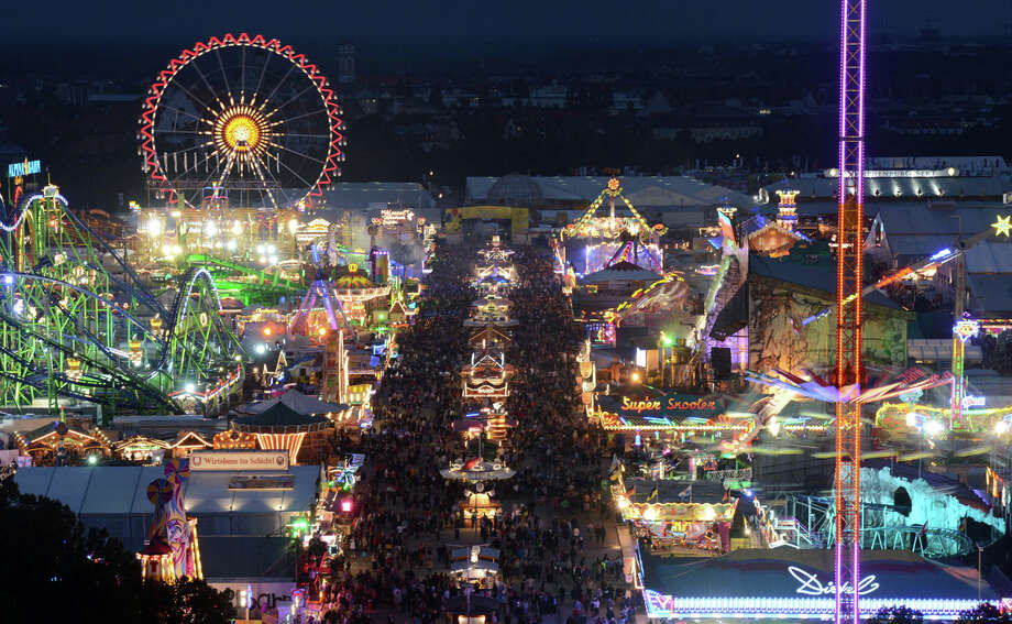 This photo shows an overview by night of the Oktoberfest beer festival at the Theresienwiese in Munich, southern Germany, on Sept. 22, 2012. Photo: CHRISTOF STACHE, Getty Images / 2012 AFP