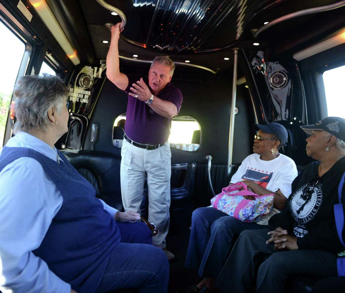 Thomas Stajkowski, a DuPont Construction Specialist, guides one of the public bus tours of the Lake Success Business Park, a 422-acre property and former Remington Arms site spread across Bridgeport and Stratford, Conn. Wednesday, Sept. 18, 2013.
