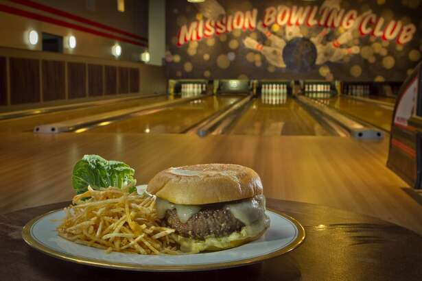 The Mission Burger with Home Fries at  Mission Bowling Club.