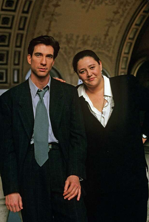 Dylan McDermott, left, in a really giant tie, from his '90s show The Practice, with Camryn Manheim, right.  Photo: ABC, Getty Images / ©American Broadcasting Companies, Inc.  All Rights Reserved. No Archiving. No Resale.