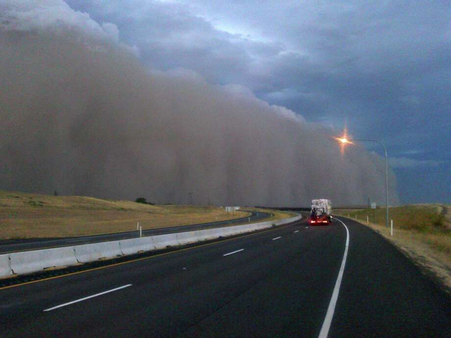The Eastern Washington haboob seen from Highway 12 near Walla Walla, Wash., around 7 p.m. on Sunday, Sept. 15, 2013. (Photo: Robert Ames) Photo: Multiple