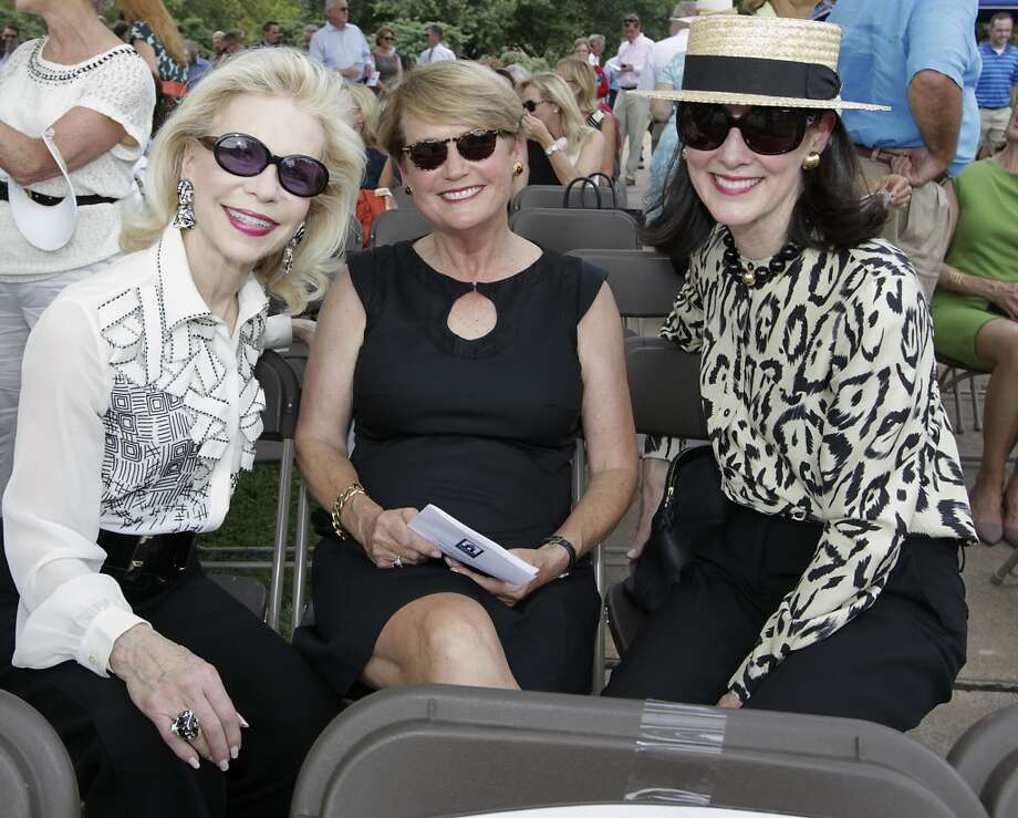 Lynn Wyatt left, Cece Fowler and Susie Criner during the Hermann Park Conservancy ground breaking ceremony on the $30 million McGovern Centennial Gardens and Cherie Flores Garden Pavilion, at the Houston Garden Center Wednesday, Sept. 18. Photo: James Nielsen, Houston Chronicle