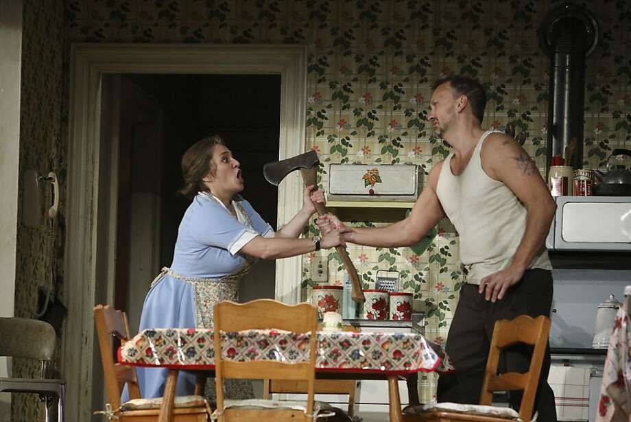 """Soprano Patricia Racette stars as the title character and bass-baritone Wayne Tigges plays her creepy, abusive husband, Joe St. George, in the San Francisco Opera commission """"Dolores Claiborne,"""" which had its world premiere Wednesday. Photo: Raphael Kluzniok, The Chronicle"""