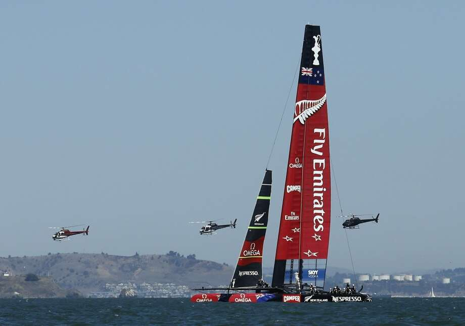 Emirates Team New Zealand practices before Race 11 of the America's Cup Finals on Wednesday, September 18, 2013 in San Francisco, Calif. Photo: Beck Diefenbach, Special To The Chronicle