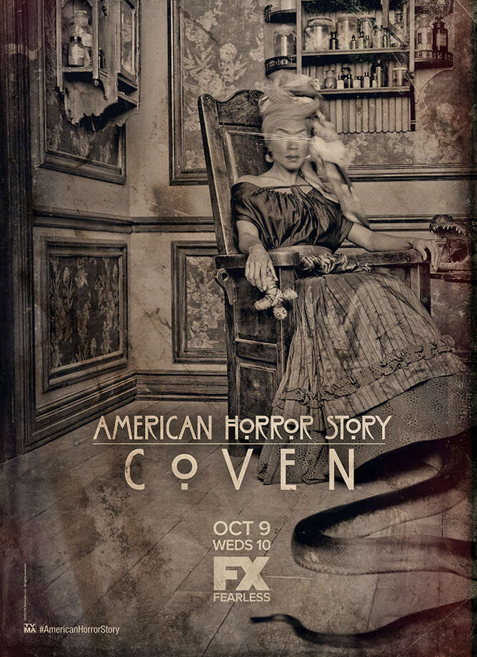 The promo poster for Season 3's American Horror Story: Coven, premiering Oct. 9, didn't disappoint in spookiness. It features Angela Bassett and some kind of very large snake.  Photo: Getty Images