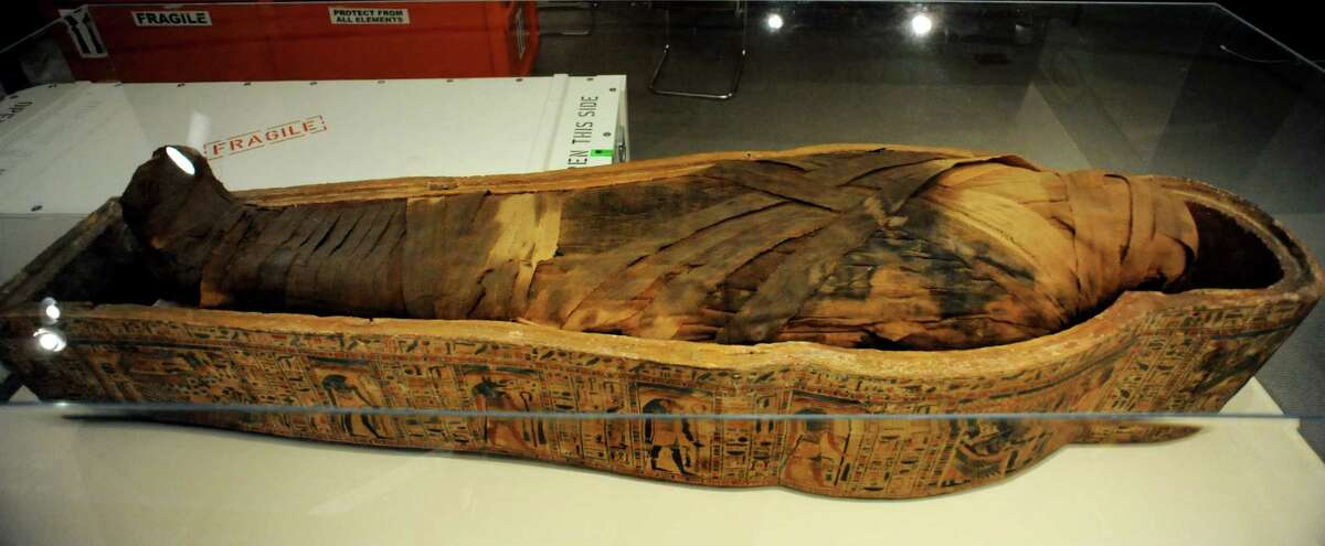 Ankenfenmut's mummy and coffin base, part of GE Presents: The Mystery of the Albany Mummies, on Tuesday, Sept. 17, 2013, at the Albany Institute of History and Art in Albany, N.Y. The exhibit opens Saturday, Sept. 21. (Cindy Schultz / Times Union)